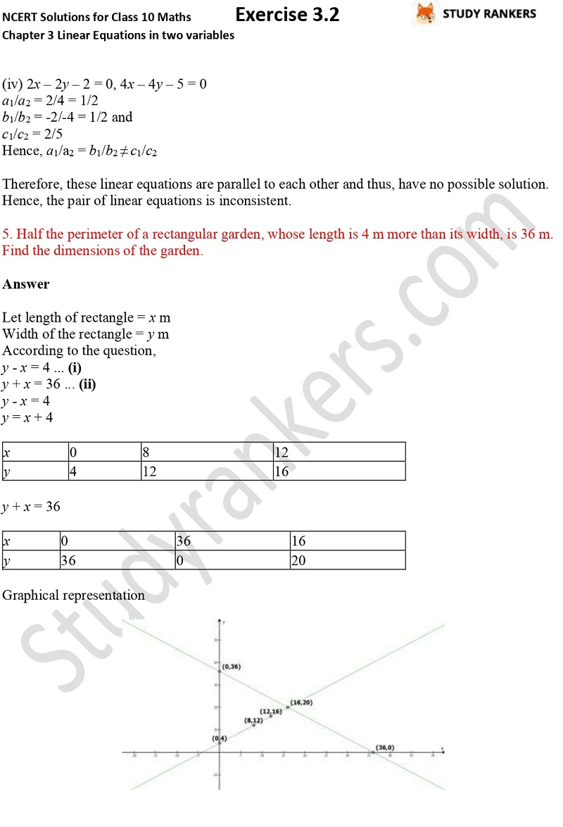 NCERT Solutions for Class 10 Maths Chapter 3 Pair of Linear Equations in Two Variables Exercise 3.2 Part 8