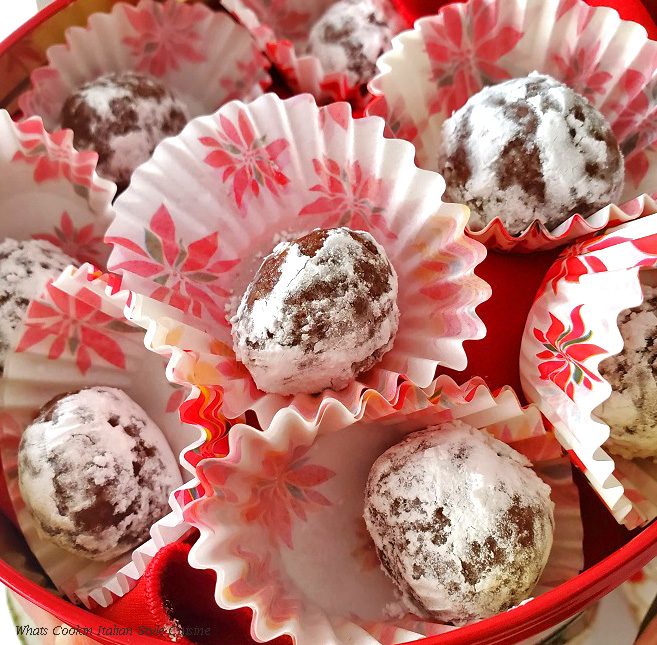 Rum balls rolled in powdered sugar