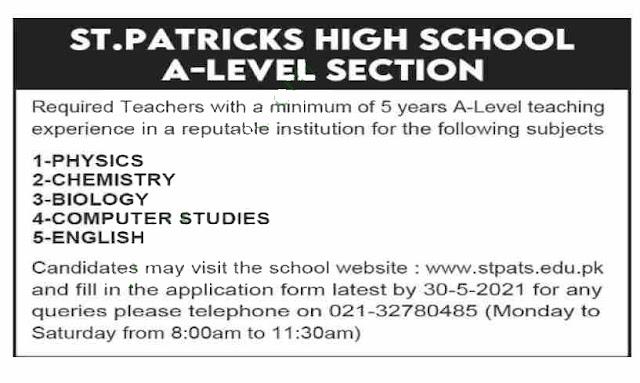 Latest St. Patricks High School Karachi Jobs 2021 For Lab Attendant, Teacher And More