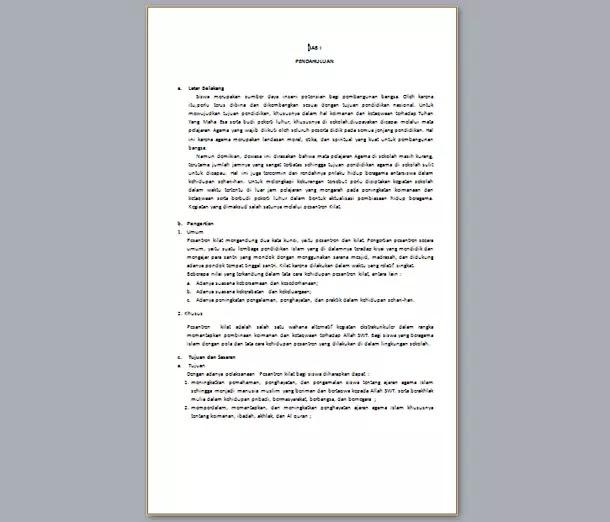 Contoh Program Kerja PASKIL (Pesantren Kilat) Sekolah Madrasah