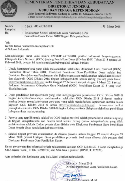 gambar surat edaran seleksi ogn 2018 guru sd