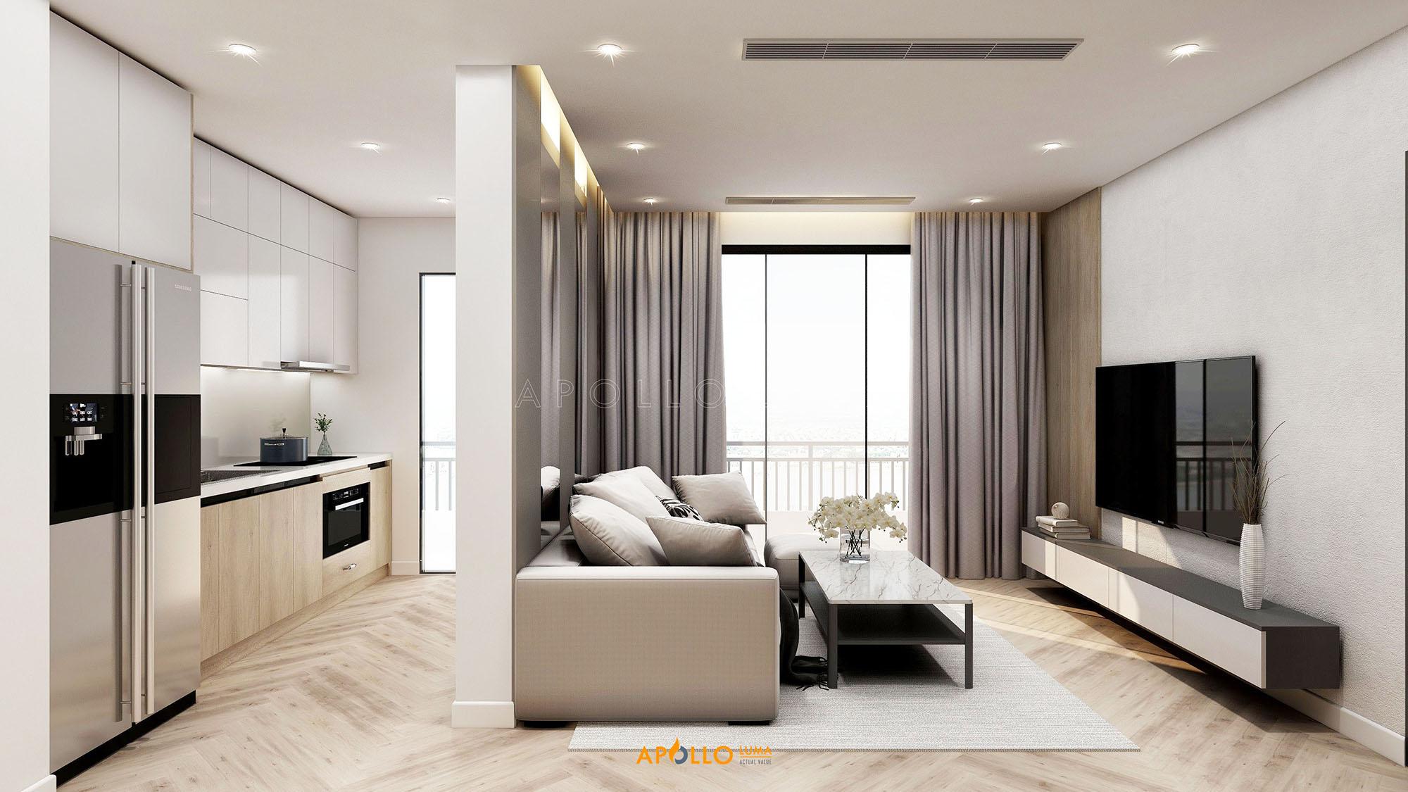 Thiết kế nội thất căn hộ 2 phòng ngủ 74m2 The Terra An Hưng