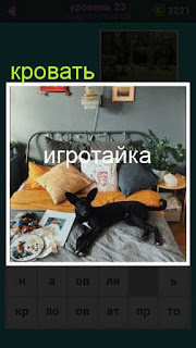 кровать с подушками на которой лежит черная собака 23 уровень 667 слов