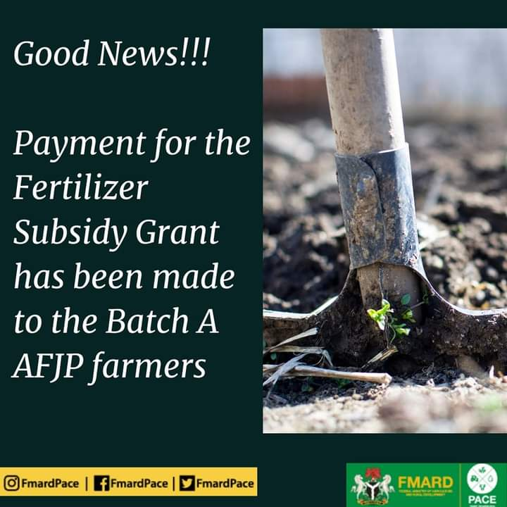 Batch B Get Ready: Payment for the Fertilizer Subsidy Grant has been made to the Batch A AFJP Farmers - FMARDPACE