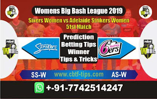 Who will win Today WBBL 2019, 51st Match Adelaide vs Sixer - Cricfrog