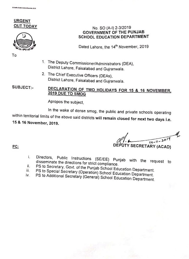 HOLIDAYS FOR 15th AND 16th NOVEMBER 2019 IN SCHOOLS DUE TO SMOG