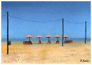 Palasol / Venis beach  Watercolor パラソル / ヴェニスビーチ 水彩