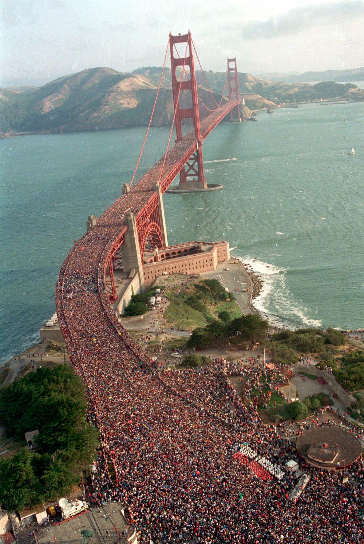 Incredible Pictures Of People Flattened Golden Gate Bridge