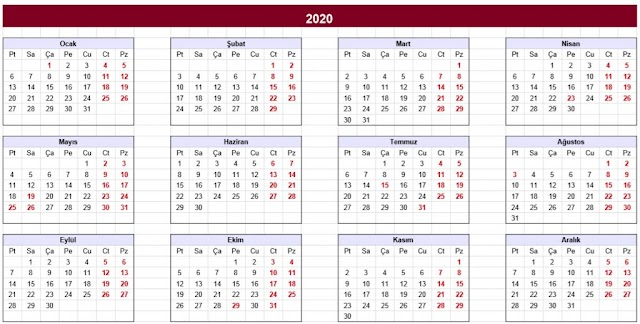 2020 YILI TAKVİMİ RESMİ TATİLLER EXCEL PDF