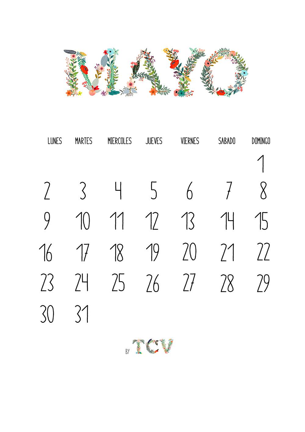 Calendario descargable de mayo