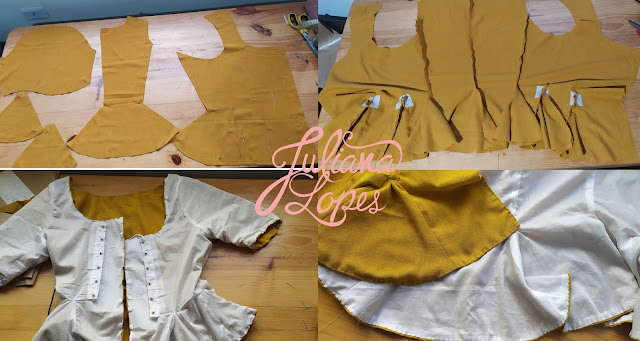Processo de costura jaqueta século XVIII