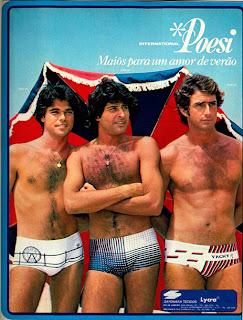 anúncio de maiôs masculino marca poesi de 1979.  Moda anos 70; propaganda anos 70; história da década de 70; reclames anos 70; brazil in the 70s; Oswaldo Hernandez