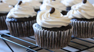 CHOCOLATE MOCHA CUPCAKES WITH IRISH CREAM FROSTING