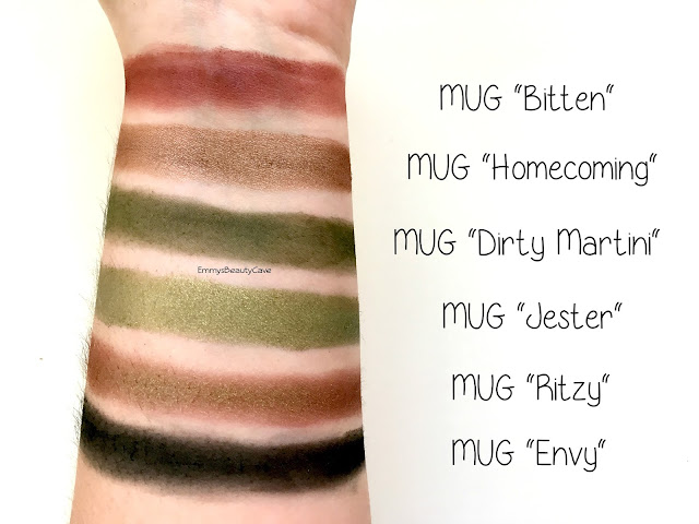 Makeup Geek Green Eye Shadow Swatches, Makeup Geek Jester, Makeup Geek Dirty Martini