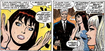 Amazing Spider-Man #60, don heck, john romita, at the club, mary jane watson is telling gwen stacy about the fight behind the scenes but then george stacy shows up and tells gwen there's nothing to worry about