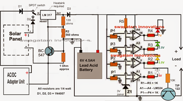 Battery Charger Controller Circuit Electronic Circuit Projects