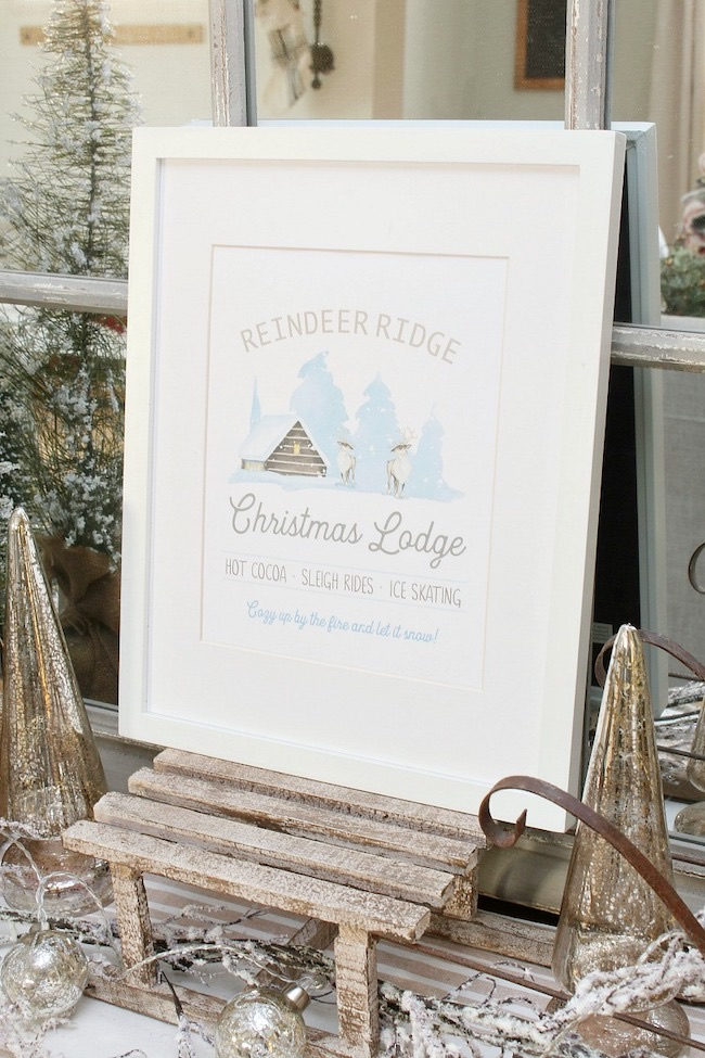 Reindeer Ridge Christmas Lodge Printable by Clean and Sentsible featured at Pieced Pastimes