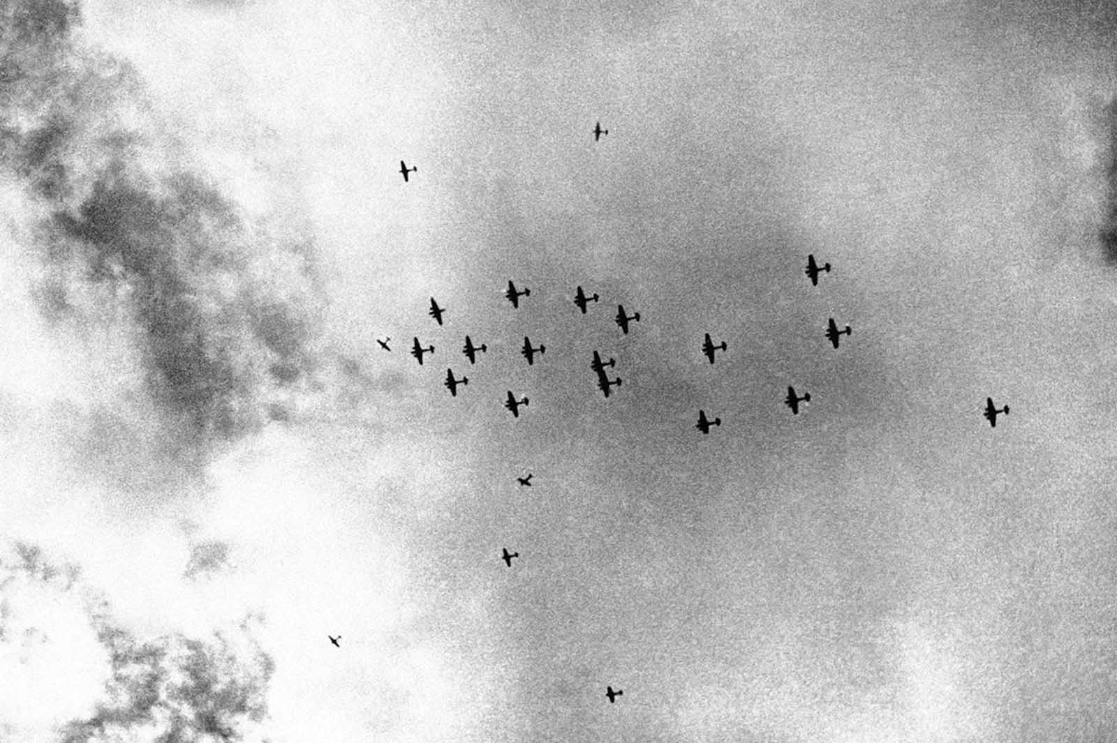 British Blenheim bombers setting out on a raid in Cyrenaica, Libya, with their escorting fighters, on February 26, 1942.