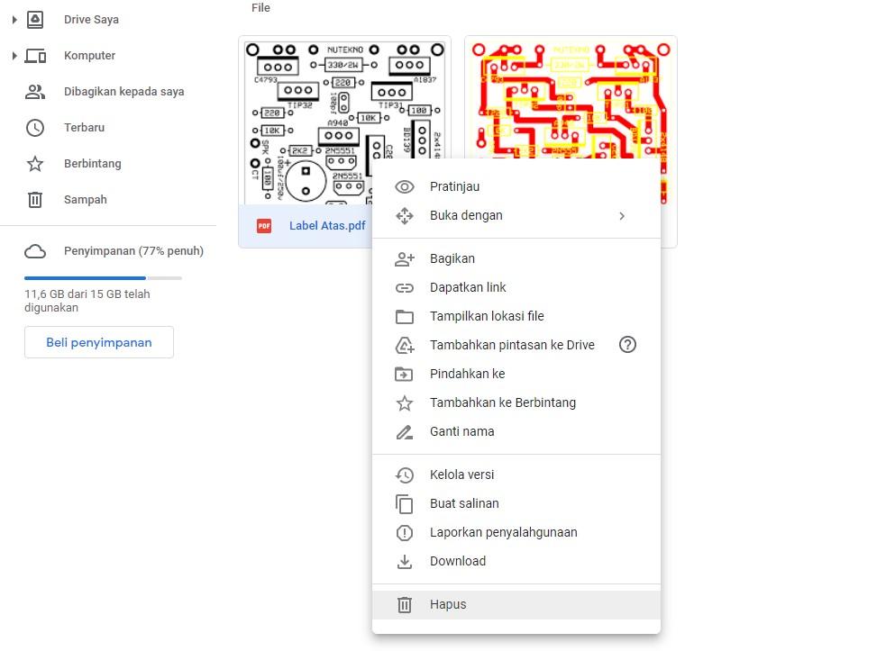 Menu Hapus atau Delete pada Google Drive