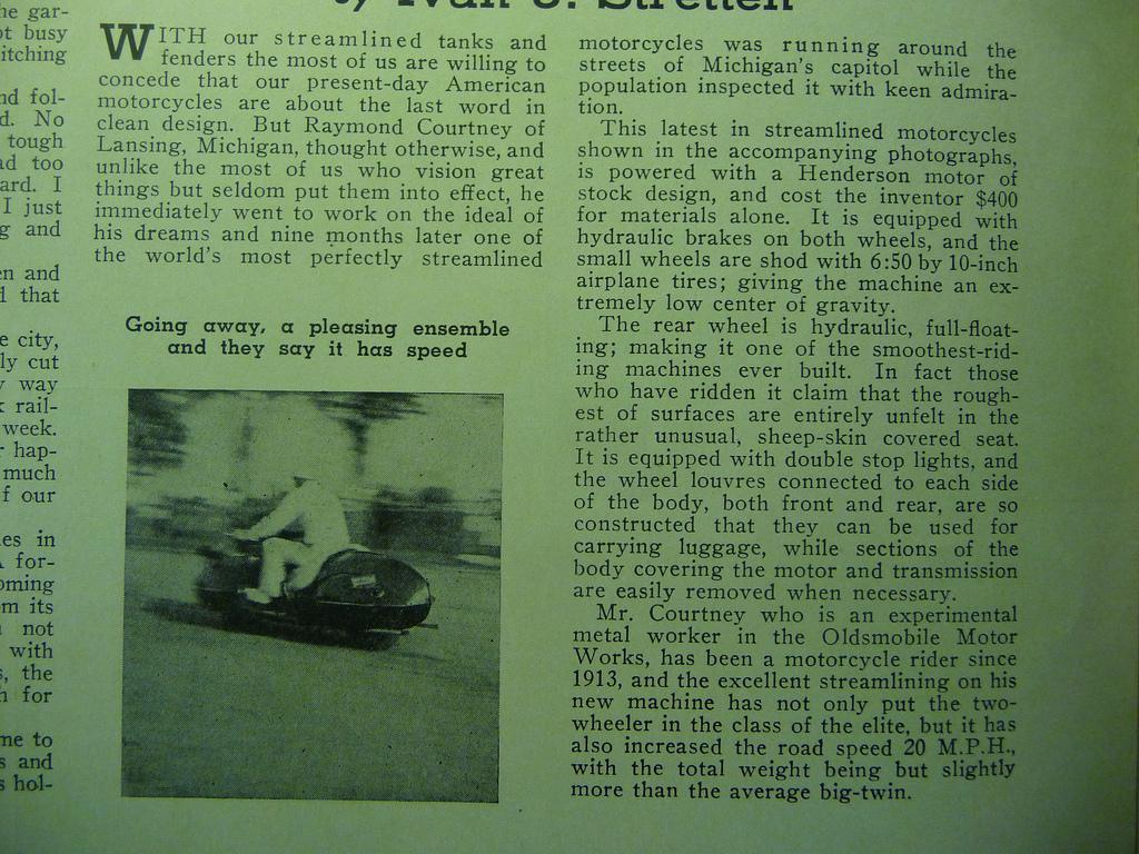 Henderson KJ featured in 1935 Motorcyclist Magazine