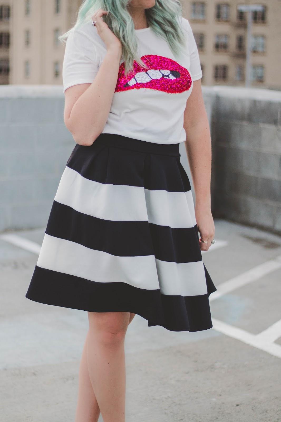 Lips Shirt, Striped Skirt, Utah Fashion Blogger
