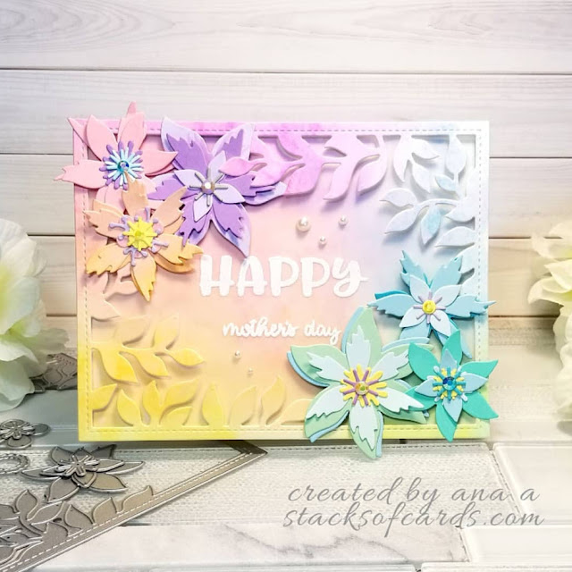 Sunny Studio Stamps: Botanical Backdrop Happy Thoughts Customer Card by Ana A