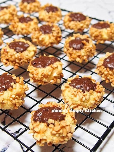 choco nut thumbprint cookies