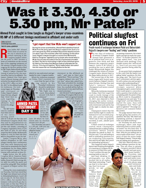 RS POLL CONTROVERSY: 'Ahmed Patel caught in time tangle as Rajput's lawyer Additional Solicitor General Satya Pal Jain cross-examines RS MP of 3 different timings mentioned in affidavit and under oath'