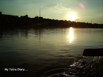 Sun Set at the Yamuna River in Mathura during the Boat ride