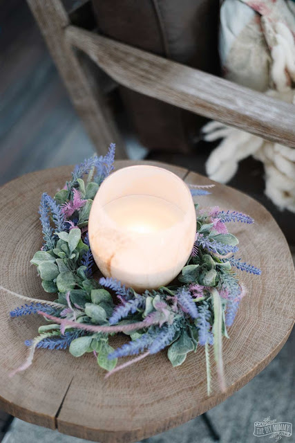 DIY Dollar Tree Lavender Candle Wreath