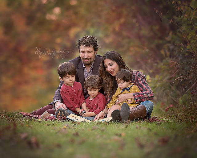 Lifestyle outdoor fall family photo with three children near DeKalb Nature Path