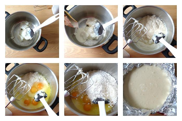 tarta de queso al horno-elaboración