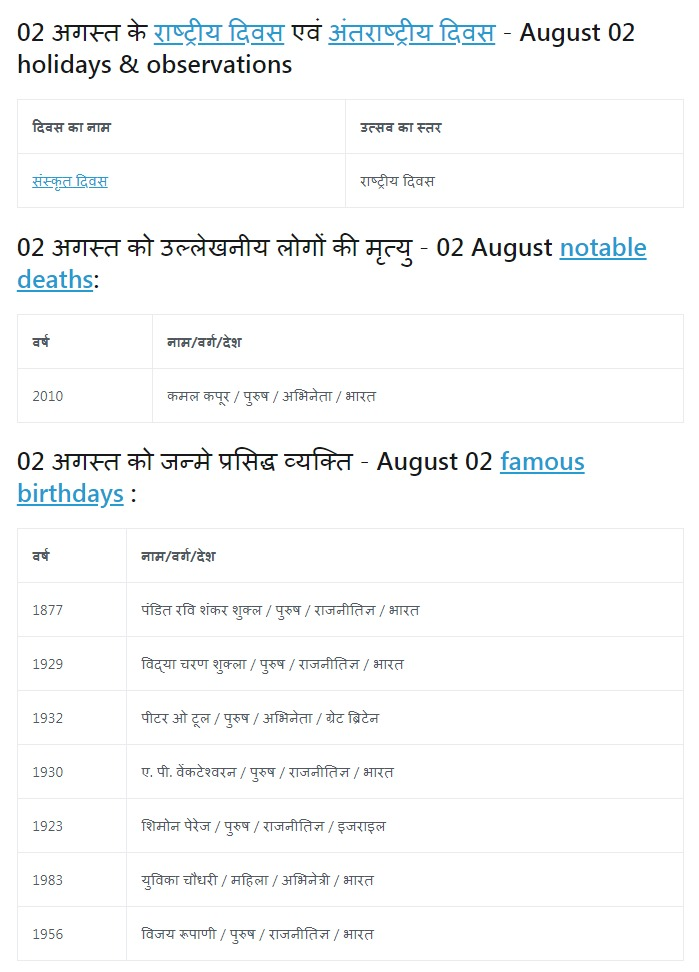 History of 02 August