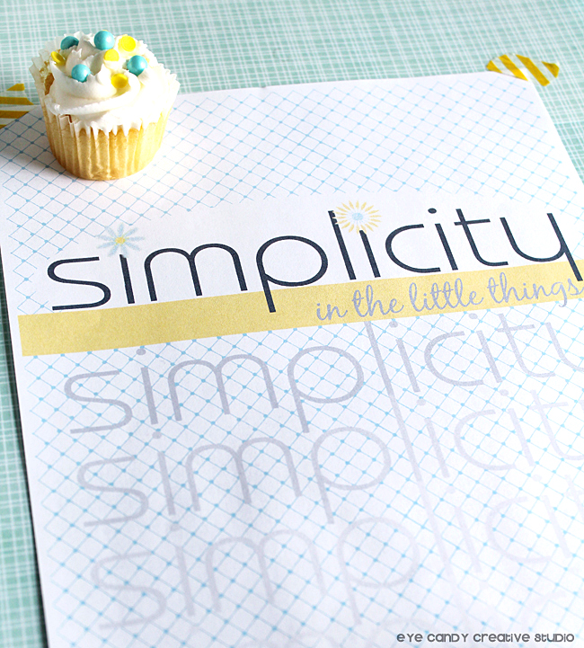 free art print, simplicity art print, mini cupcakes, yellow washi tape