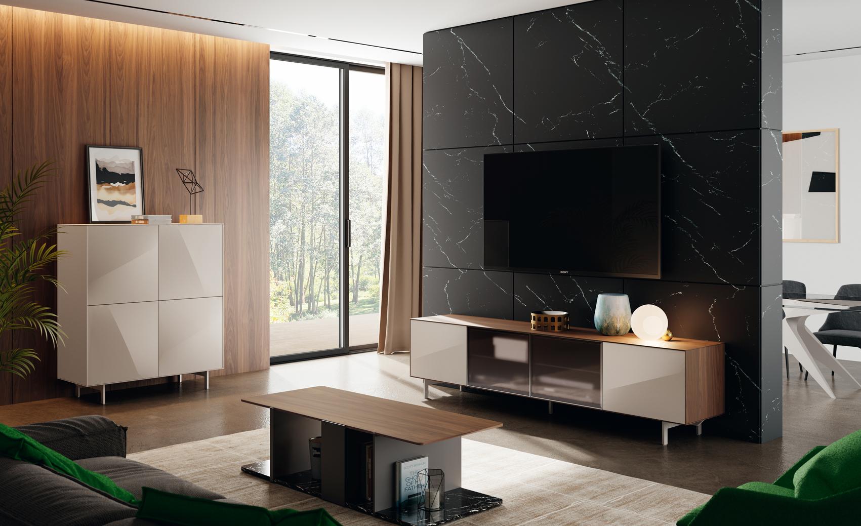 czarna ściana za telewizorem