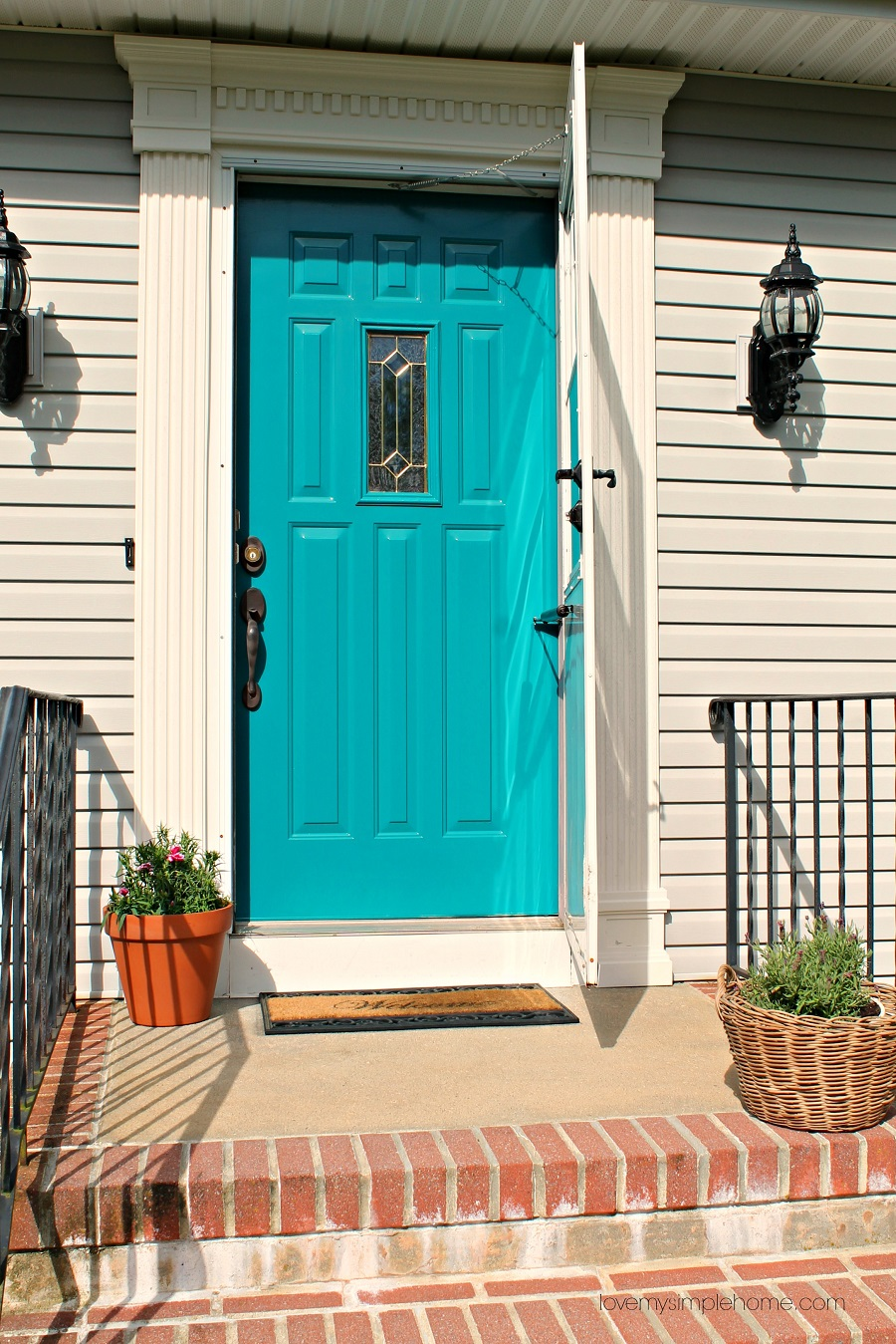 Front door reveal with the color teal love my simple home - Front door colors 2018 ...