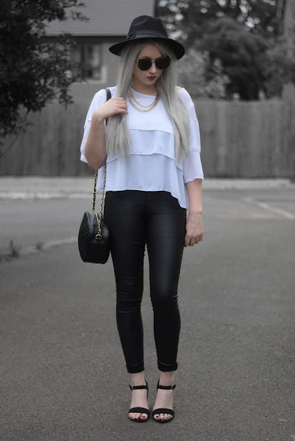 Sammi Jackson // Primark Fedora, Zaful Sunglasses, Everything5pounds Tiered Blouse, Primark Necklace, Everything5pounds Quilted Bag, Primark Wet Look Jeans, Primark Heels