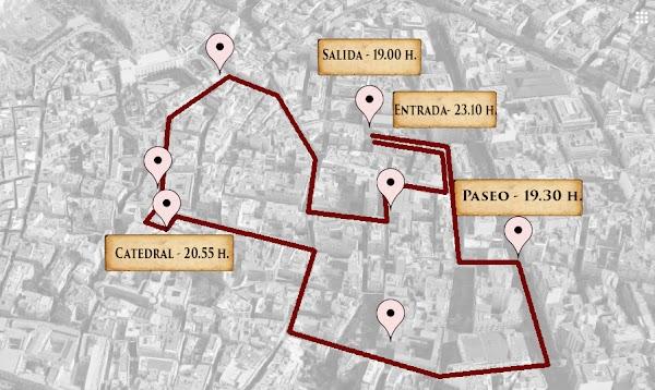 Horario e itinerario de la estación de penitencia de la Santa Cena de Almería 2020