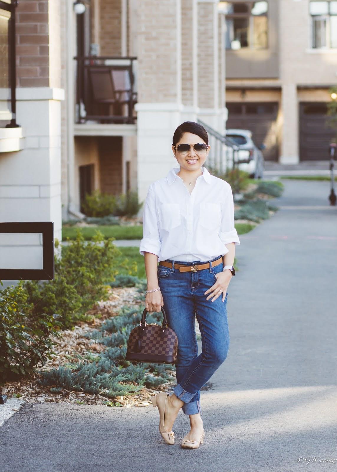 Levi Strauss White Shirt   Old Navy Blue Jeans   Tory Burch Reversible Belt   Ray Ban Aviator Sunglasses   Louis Vuitton Alma BB   Gigi Patent Pumps   Mom Style   Petite Fashion