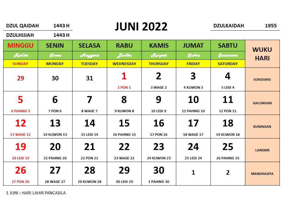 Kalender Bulan Juni 2022 dan Hari Peringatannya - Enkosa ...