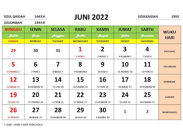 Kalender Bulan Juni 2022 dan Hari Peringatannya