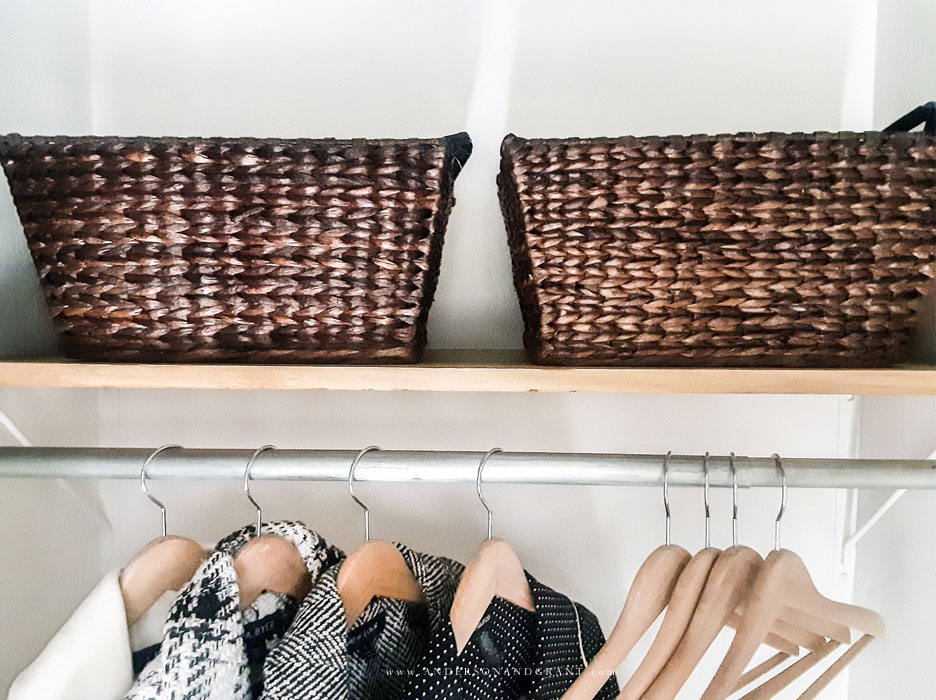 Water Hyacinth Baskets in coat closet
