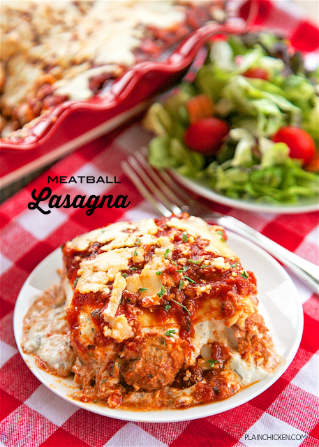 Meatball Lasagna - no meat to brown and no noodles to boil. Great weeknight casserole! Ricotta, mozzarella, parmesan, chive-and-onion cream cheese, pasta sauce, egg roll wrappers and frozen meatballs. Ready for the oven in minutes!! Everyone loved this lasagna!! SO easy and SO delicious!