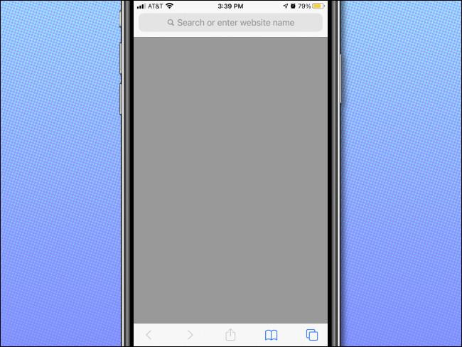 مثال على صفحة فارغة في Safari على iPhone بدون قائمة المفضلة