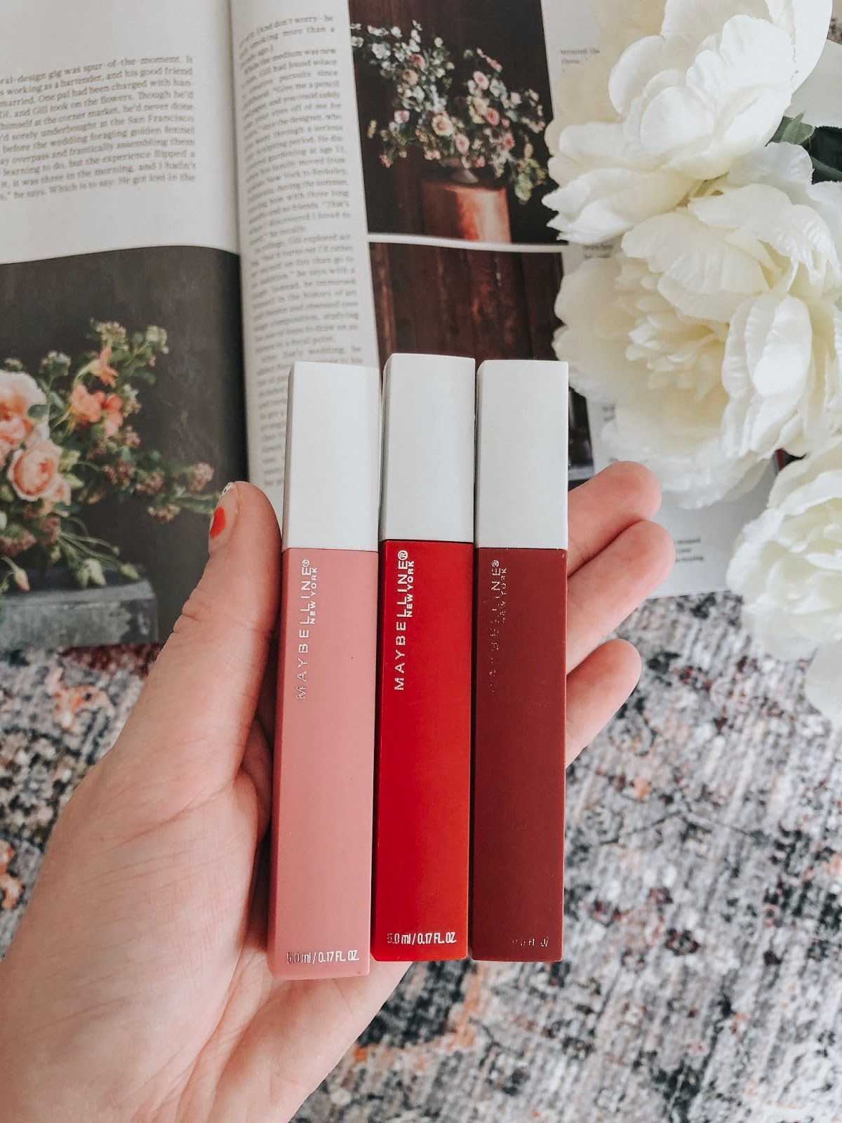Best Drugstore Lipsticks for Fair Skin: Summer Edition Maybelline SuperStay Matte Liquid Lipsticks in Pioneer, Lover, Seductress.