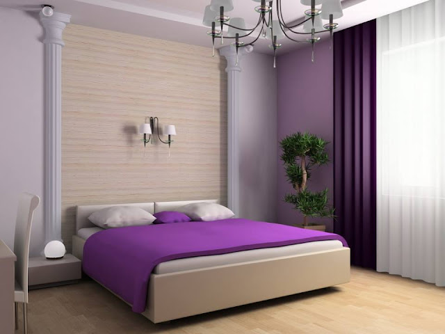 White and Purple bedroom design ideas 2016 with large bed single big bed nice curtain minimalist lamp