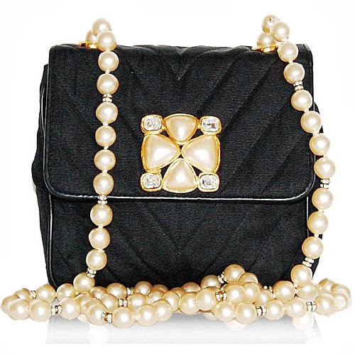 Chanel black evening bag with pearls