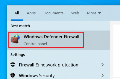 Turn on Windows Defender Firewall.
