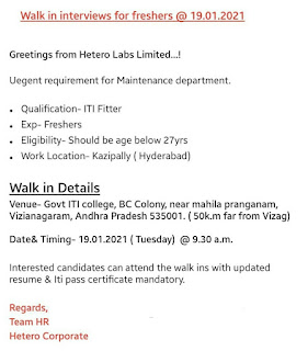 Walk in interviews for ITI Fitter Freshers in Maintance Department Hetero Labs Limited On 19th January 2021