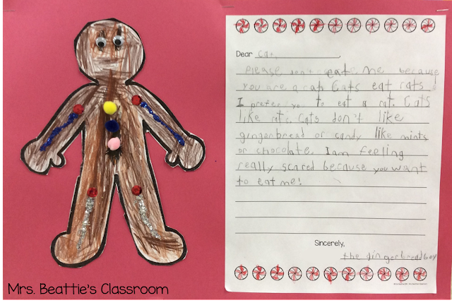 Photo of gingerbread art and writing activity.